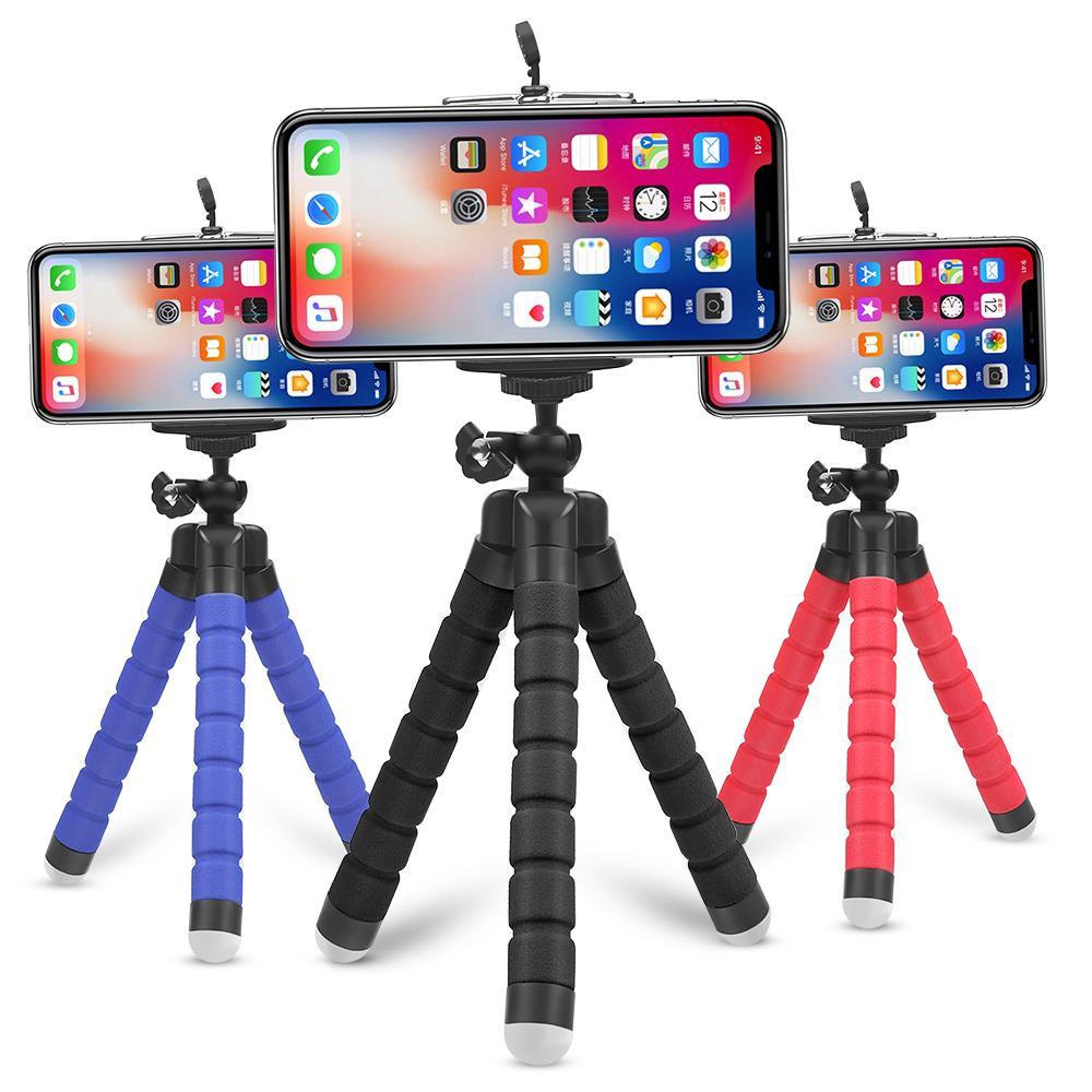 Mini flexible Esponja pulpo trípode para el iPhone Samsung Xiaomi Huawei teléfono móvil Smartphone trípode para GoPro 8 7 5 Cámara