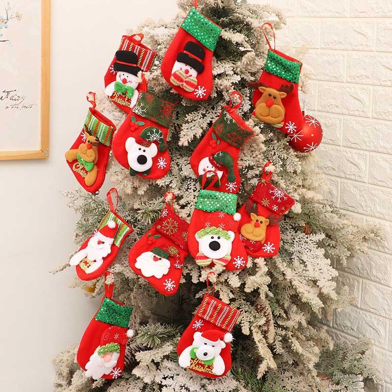 عيد الميلاد الجورب الترتر 16 ** 9cm شجرة عيد الميلاد قلادة الديكور سانتا كلوز انتلرز حلوى عيد الميلاد هدايا حقائب بالجملة
