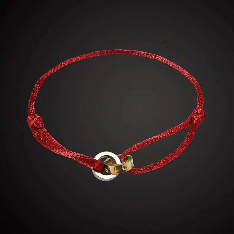Novo designer jóias pulseira de aço inoxidável luxo de aço inoxidável dois pulseira redonda diferente cor corda estilo mão fazer unisex moda