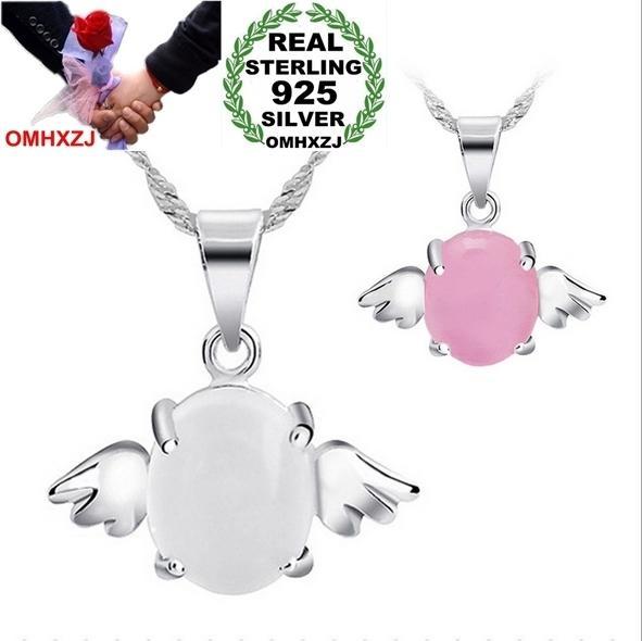 OMHXZJ Donna all'ingrosso Ali d'angelo Rosa bianco Opale naturale occhio di gatto Argento sterling 925 NO Collana con pendente a catena PE30