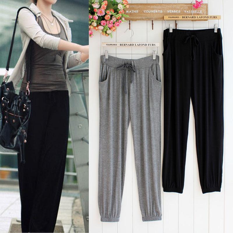 de las mujeres del verano 2020 Sweatpants Casual Pantalones de algodón modal delgada cintura alta Pantalones Mujer Pantalones Streetwear del basculador del tamaño extra grande