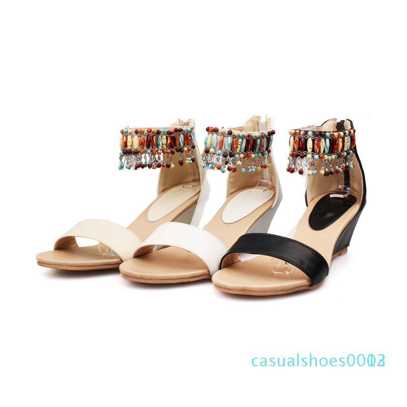 Bohemia estilo de festa sandálias de verão cor correspondente frisado cadeia de zíper de damasco branco preto de salto alto cunha mulheres sapatos c03