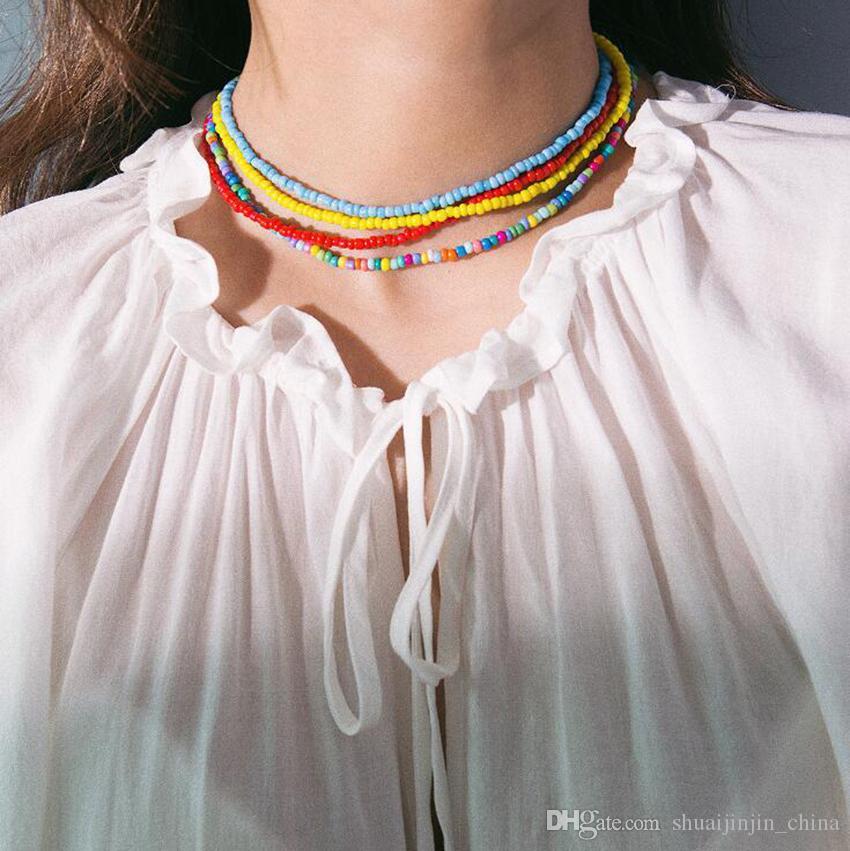 الخرز قلادة البوهيمي اليدوية قوس قزح الخرز المختنق 7 ألوان بوهو ملون مجوهرات سلسلة المختنقون 200 قطع ljjo7221