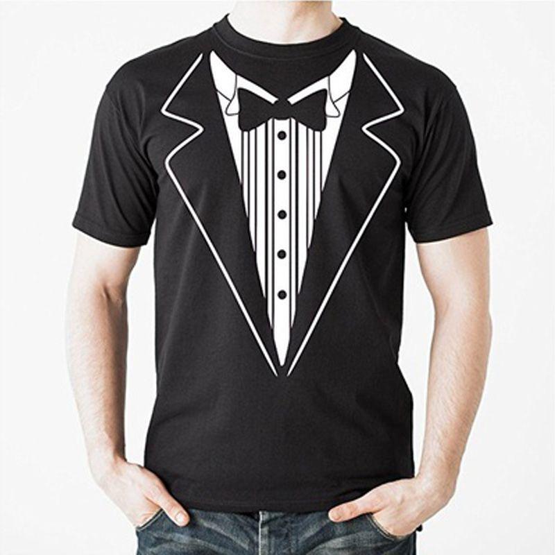 Tuxedo T Camisa TUX engraçado Prom do casamento do noivo traje Outfit T do smoking com t-shirt Bowtie Graohic
