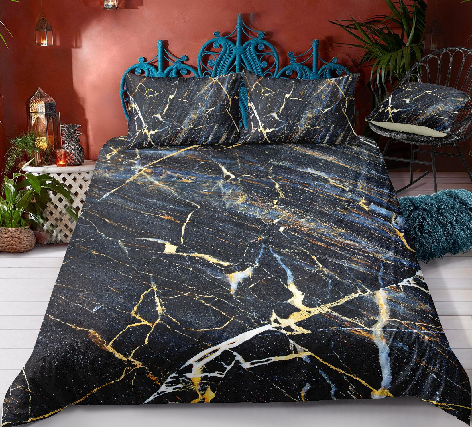 Bedding Marble Effect Duvet Cover Comfortable Bedding Fitted Pillowcases Sheet Sets Bed Home Garden Gefradis Fr