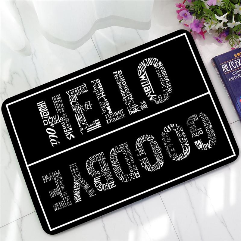 Welcome Doormat Entrance Mat Hallway Simple Black White Printed Anti-Slip Floor Mat Area Rugs Funny Custom Front Door Carpet