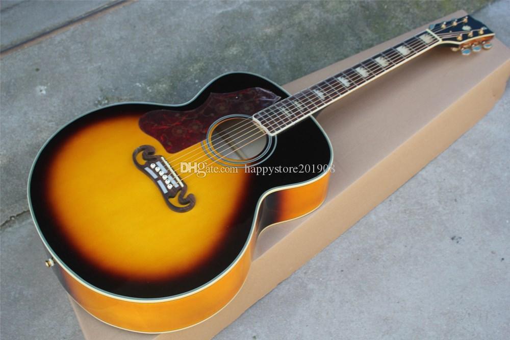 Canhoto guitarra Ouro Tuners acústico com porca de osso / sela, corpo de ligação, Rosewood fingerboard, pode ser personalizado