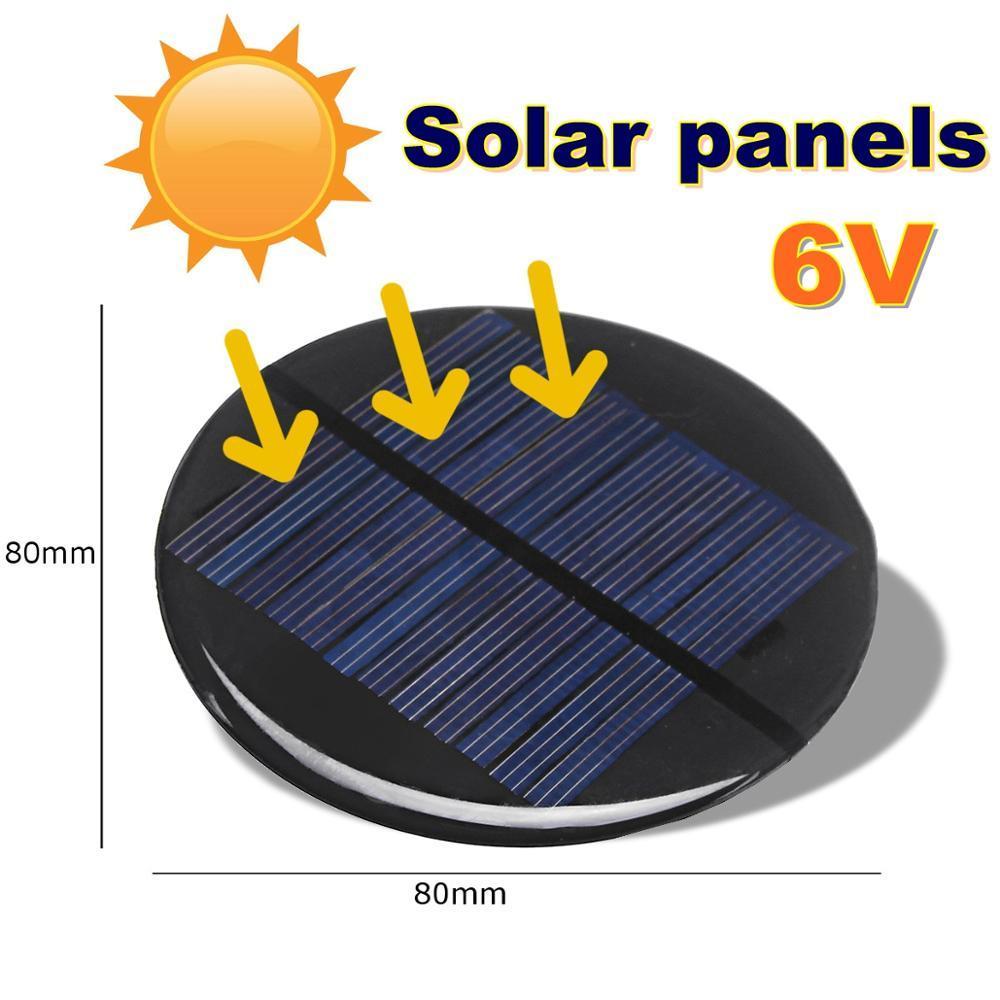Células CLAITE Poder 6V 2W 0.35A 80MM DIY Mini silicone policristalino Solar celular Módulo Círculo Solar Painel Epoxy Board