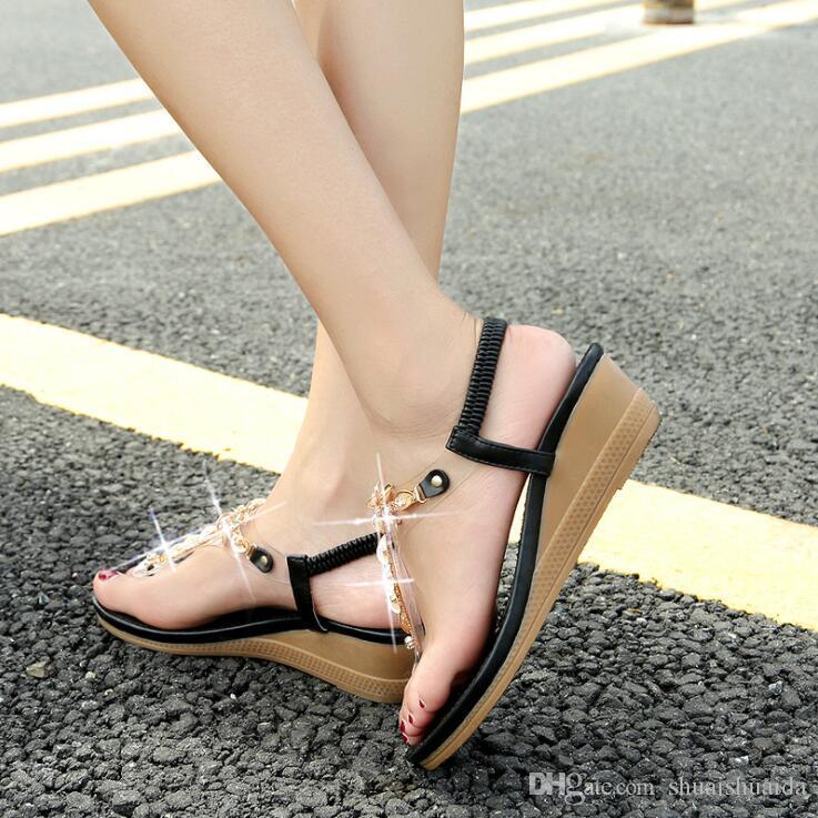 2019 Ladies fashion casual shoes Summer Sandals Slipper Beach shoes Black/White Women shoes Work/home Flat Heel Beef tendon sole A2017-3