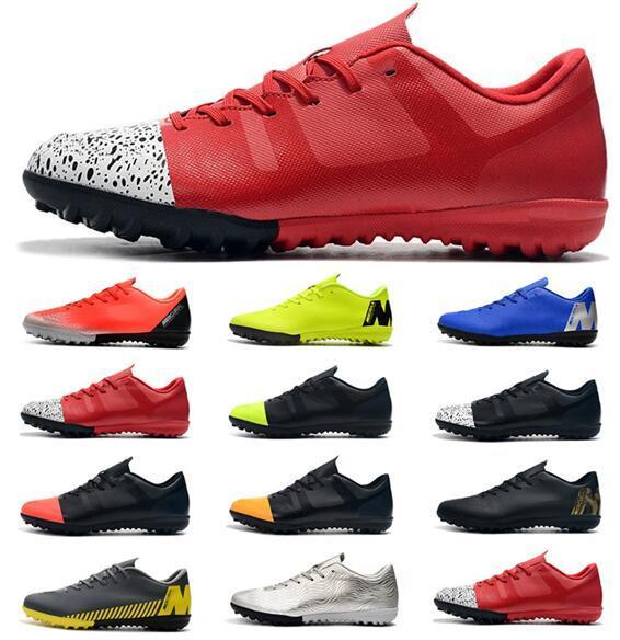 2019 New Cheapest Mens Soccer Cleats Ronaldo Neymar Vapors X 12 Club TF Soccer Shoes Outdoor Football Boots Tacos de futbol