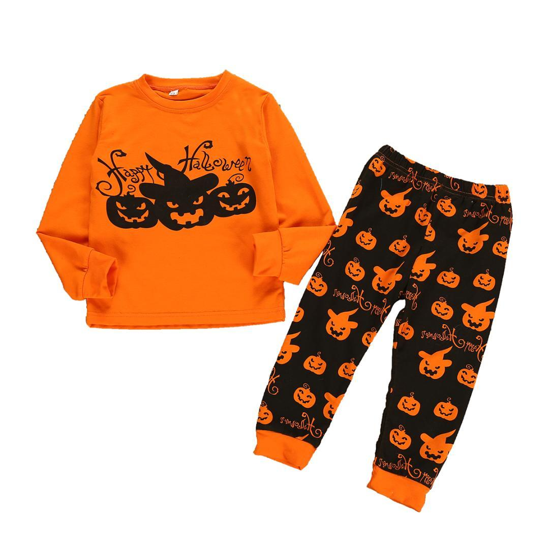 2PCS Toddler Baby Girl Boy Halloween Clothes Sets Long Sleeve Pumpkin Print Tops+Pants Outfits 1-7Y