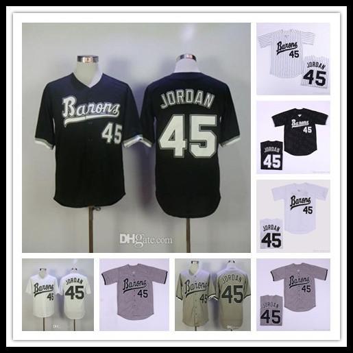남성 저렴한 버밍햄 바론 스 (45) 마이클 MJ 영화 야구 놓은 유니폼 모든 스티치 스포츠 셔츠 크기 S-4XL 블랙 화이트 그레이 무료 배송