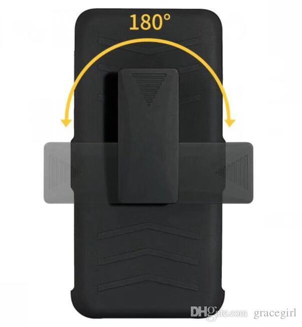 Clip Belt Stand Armor Hybrid Hard Case For MOTO X4 E5 Play Z3 G6 Plus Huawei P20 P30 Pro Y3 Y5 Y6 Y9 Y7 2018 Mate20 Lite Swivel Skin Cover