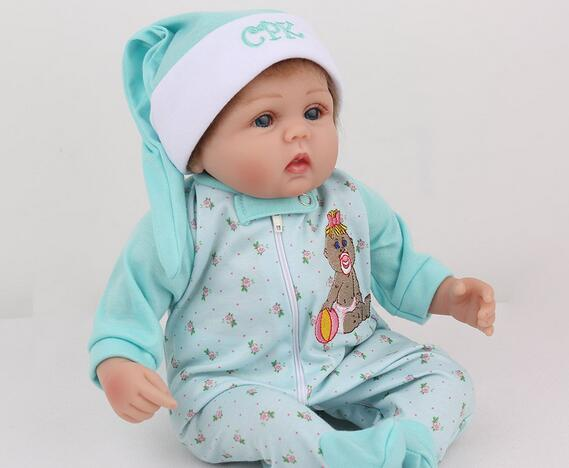 45cm Silicone Reborn Baby Dolls Alive Lifelike Real Dolls Mohair Realistic Reborn Babies Boys Toys Birthday Xmas Gift