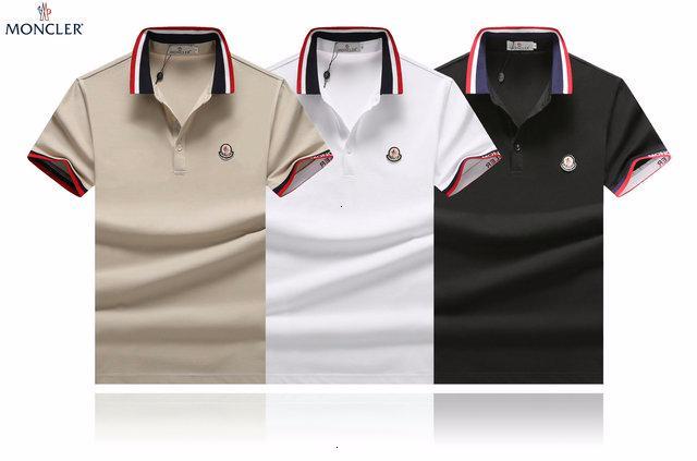 2019 de manga corta camiseta de los hombres de la tendencia de la moda de los hombres de la solapa de gama alta apuesto transpirable absorbente de sudor jersey A1081A23