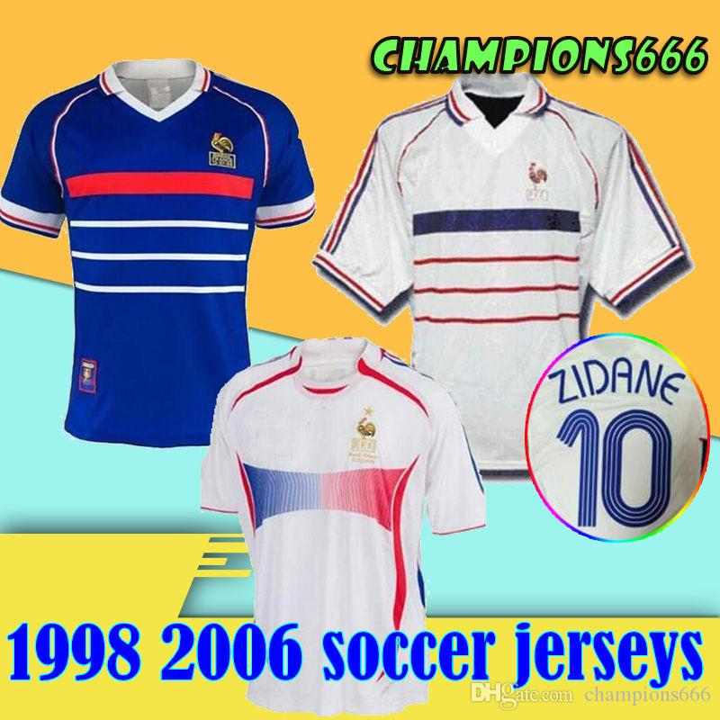 Maillots de football 1998 FRANCE RETRO VINTAGE ZIDANE HENRY MAILLOT DE FOOT 2006 France Thaïlande uniformes de qualité maillots de football shirt
