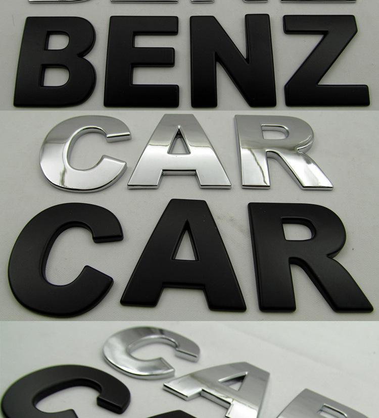 37 pcs 3d métal Emblème Autocollants De Voiture lettre numérique Nombre Hauteur 4.5 cm Chrome BRICOLAGE Car Styling Badge Logo Automobile Motos autocollants