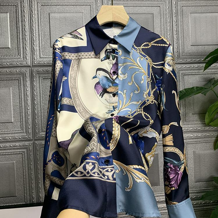 Kadın İpek Bluz Kuş Baskı Klasik Gömlek Kadın Bahar Sonbahar Kış Moda Bayanlar Zarif Düğme Ön Bluz Uzun Slee