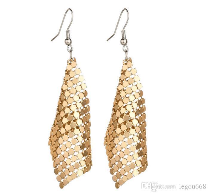 Yıldız Takı Charm Pullu Bırak Küpe Yeni Geometrik Yuvarlak Parlak Dangle küpe takı kadın satış GB378