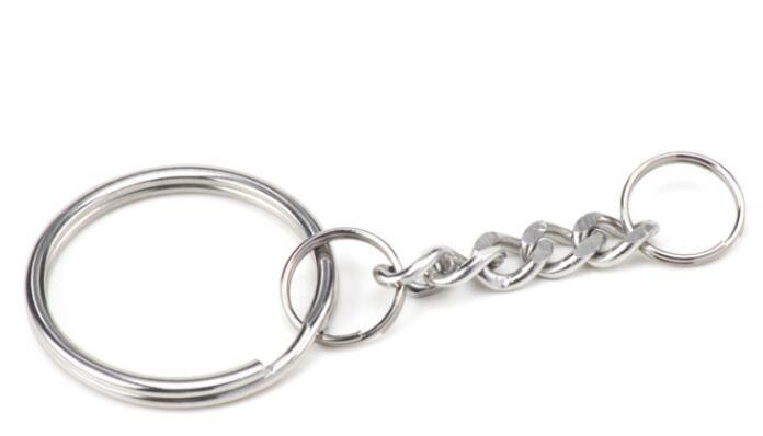 Polido 25mm Chaveiro Chaveiro Dividir Anel com Cadeia Curta Anéis Chave Homens Mulheres DIY Chaveiros Acessórios