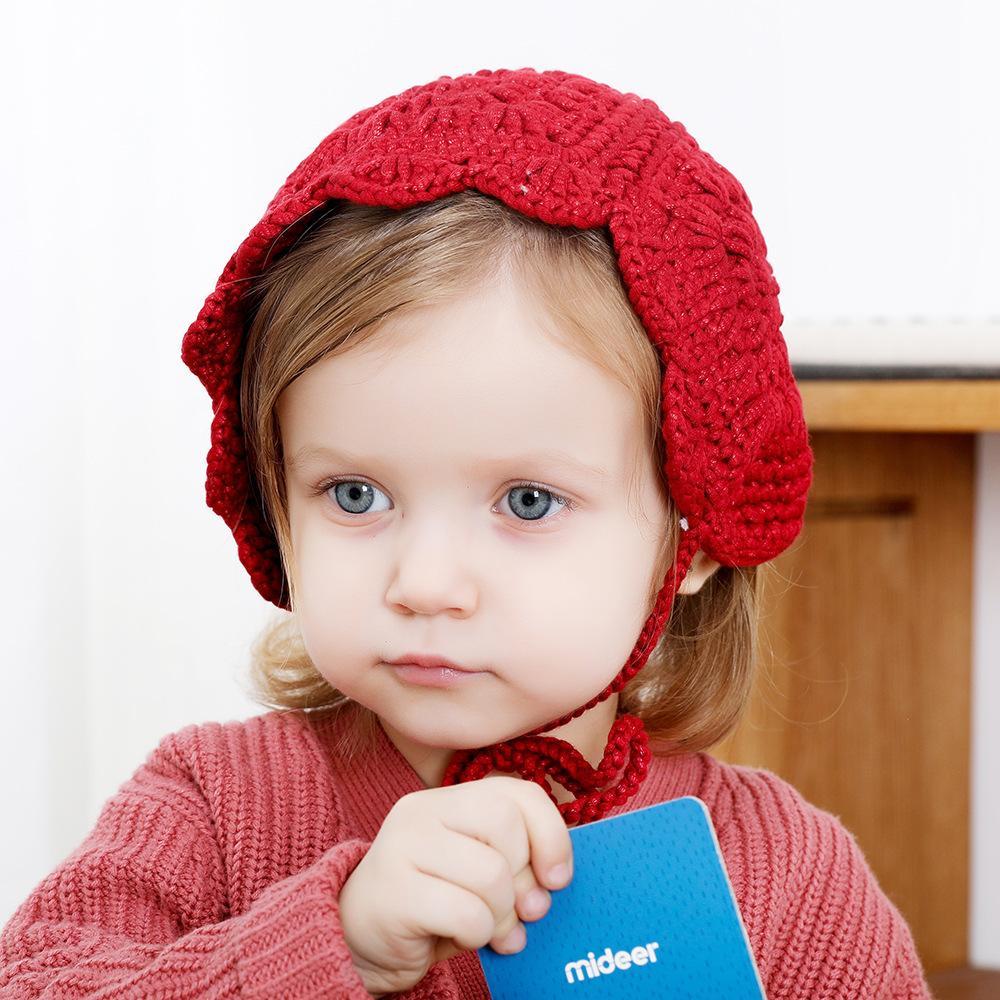 Nueva Otoño Invierno Los niños hicieron punto los sombreros Gorros muchachas de los bebés Los bebés de ganchillo hecho a mano Caps orejeras sombrero sombreros y gorros sombreros de los niños A728