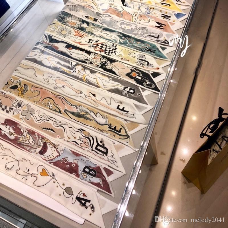100x6 cm 2019 Novo Original Tarot 26 Carta Bolsa de Seda Cachecol Bag Handles Bag Amarrado Fita Pequeno Cachecol Mulheres Headband Atacado