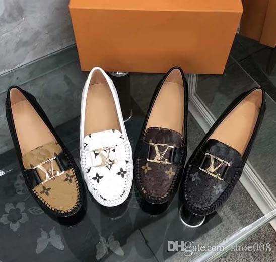 Diseñado para mujeres Mocasines Hecho a mano Diseñador italiano Metal Carta Hebilla Resbalón en los zapatos de barco Zapatos de lona ocasionales Tamaño: 35-40 Con caja L