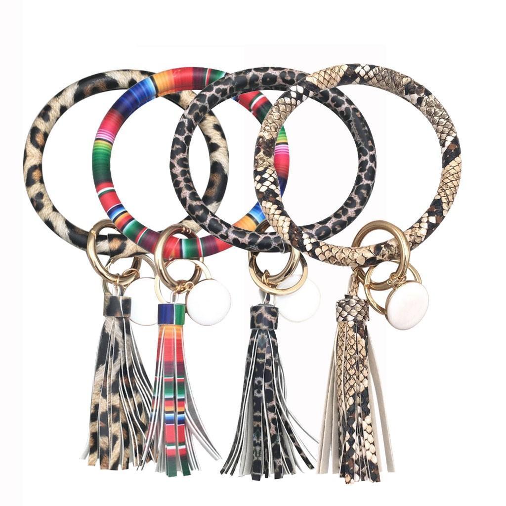 موضة بسيطة جلدية كبيرة سوار شرابة سلسلة المفاتيح مجوهرات سلاسل المفاتيح مفتاح سلسلة كيرينغ اكسسوارات نسائية هدايا مجوهرات