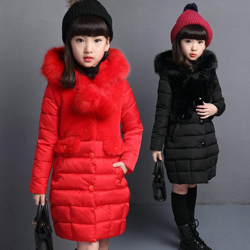 Winter Girls Down Jackets Warm Long Fur Parka Children's Windproof Thick Coats Teenage Solid Fur Collar Outerwear Girls Snowsuit T191026