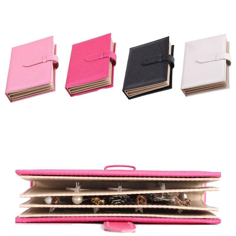 10pcsJewelry Storage Box Творческих серьги хранение Книга Кожа PU серьга Дисплей Организатор Мода женщины ювелирных изделий держателя