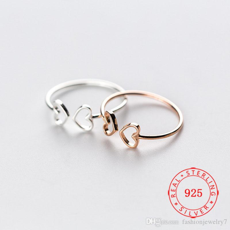 Fashion Hollow Jewelry 925 Sterling Silver Rings for Women Unique Heart Shaped Finger Ring Rhodium Gold Rose Gold Plated Rings