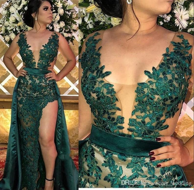 Sexy Hunter Green Split Evening Dresses With Detachable Skirt Sheer Illusion Bodice Appliqued Long Arabic Party Gowns Prom Dress Wear