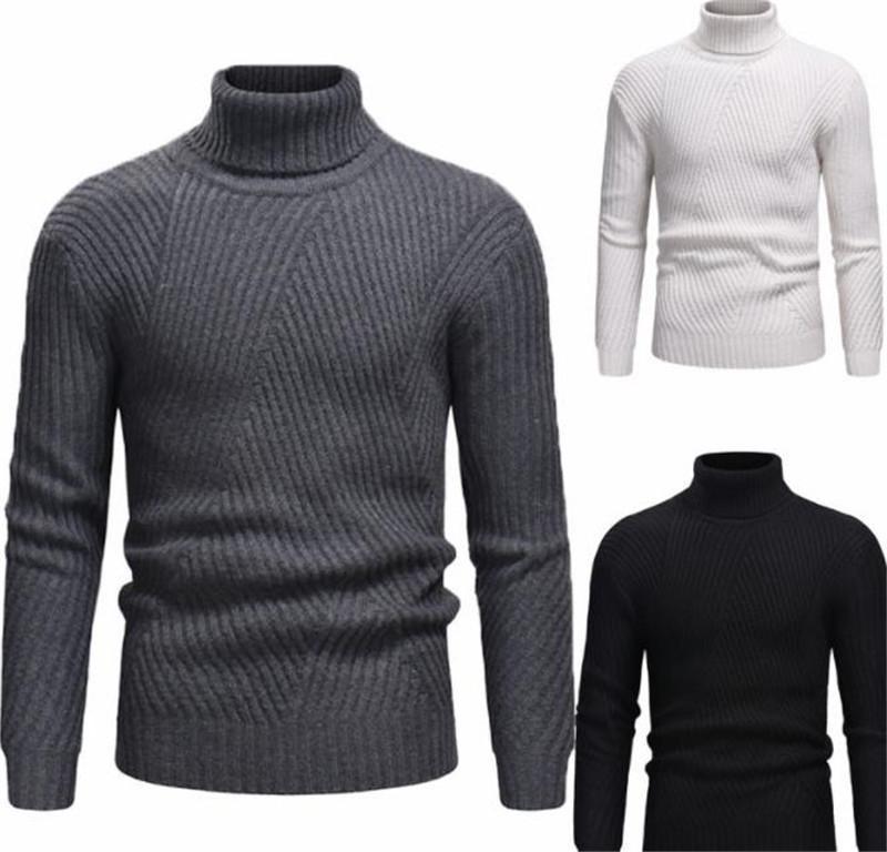 Boyun Çizgili Baskılı Erkek Kış Örme Giyim Katı Renk Erkek Tasarımcı Kazak Kaplumbağa Tops