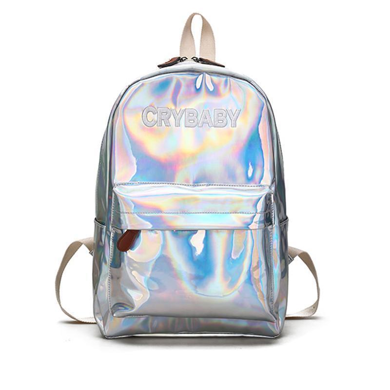 Pop2019 Mini Holografik Gümüş Sırt Çantası Mektuplar Lazer Hologram PU Deri Kızlar Genç Kızlar Için Omuz Okul Çantaları