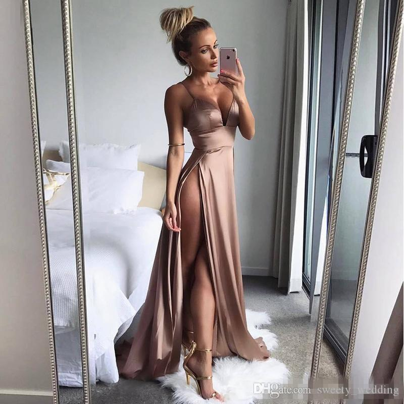 Sexy Side High Split Evening Dresses 2019 Simple Satin Spaghetti Straps Deep V neck Hot Formal Prom Dresses Special Occasion Wears