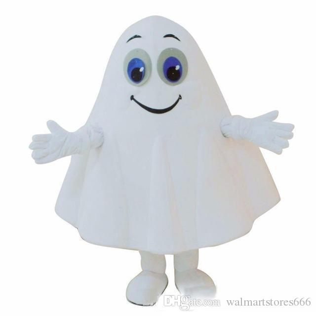 2019 Halloween White Ghost Mascot Costume Cartoon specter Anime theme character Christmas Carnival Party Fancy Costumes Adult Outfit