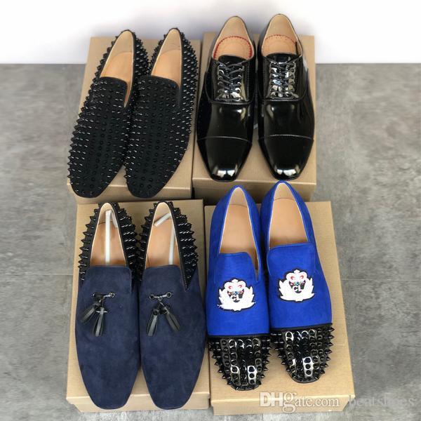 Дизайнер Corteo Orlato Обувь Мужчины Шипы Red Bottom Sneaker Классический черный бизнес Espadrilles лакированные Navy Velvet Loafer партии обувь