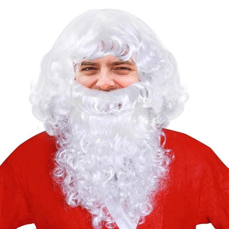 Fenical Deluxe Weiß Sankt Kostüm Wizard Perücke und Bart Set Weihnachten Halloween T191024