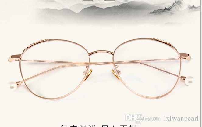 Perle Feder Flachspiegel Weibliche Mode Pigment Metall Glasrahmen Ins Ohr Glasrahmen Myopie