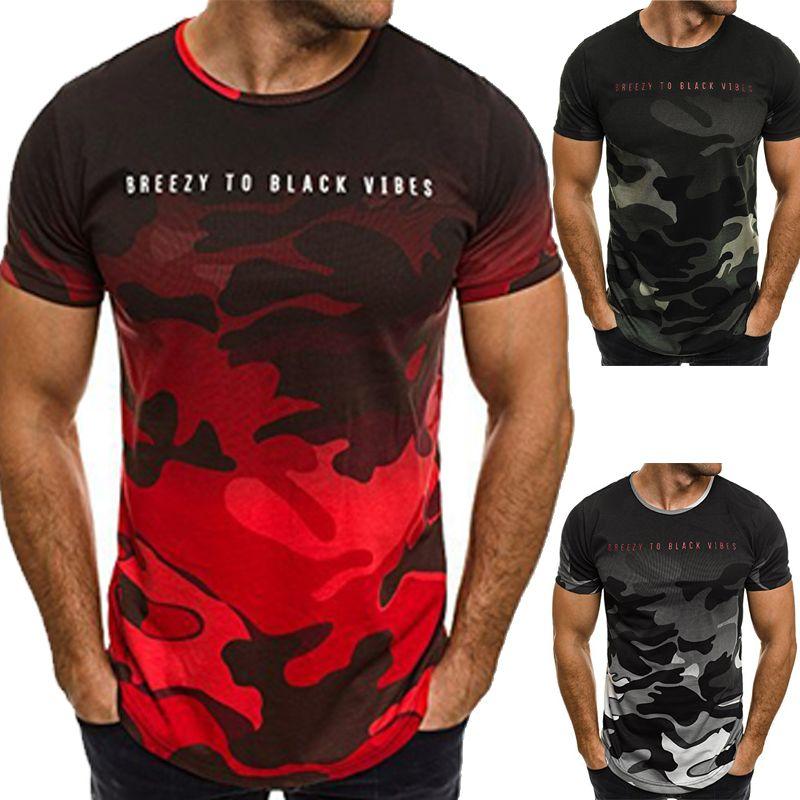 2019 Hot Men's Modal Camouflage Printing Short-sleeved Men T-Shirts Lrregular Hem European American style summer men's large size Tops shirt