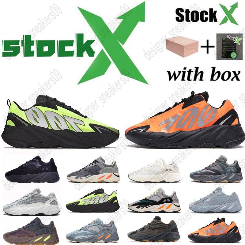 3M reflexiva onda corredor 700 Carbono hospitalar Teal Azul ímã inércia ímã Vanta Kanye West correndo sapatos masculinos mulheres formadores de designer BOX