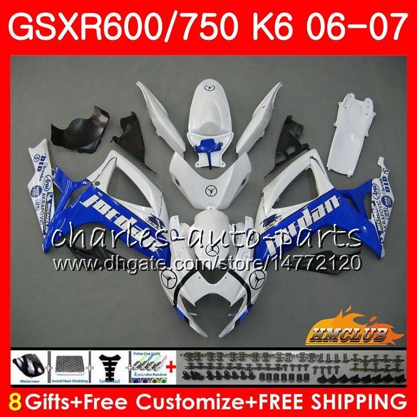 Corpo para Suzuki GSX R750 GSX R600 GSXR 600 750 GSXR750 06-07 8HC.107 GSXR-750 GSX-R600 K6 GSXR600 06 07 2006 2007 Blue White Hot Fearding Kit