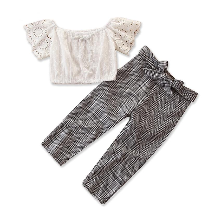 New US Toddler Baby Girls Casual Plaid Cloth Set Vest Tops+Long Pants Summer Playsuit Clothes Outfits Sunsuit