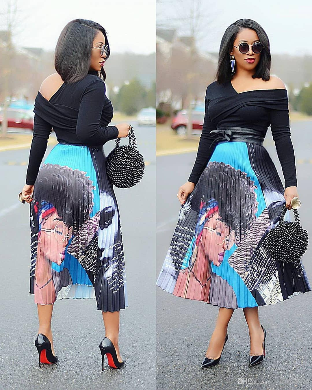 Free Ship 2019 Spring New Coming Europen Style Print High Elasticity Pleated Skirt High Street Style A-Line Mid-Calf Skirts XXXL