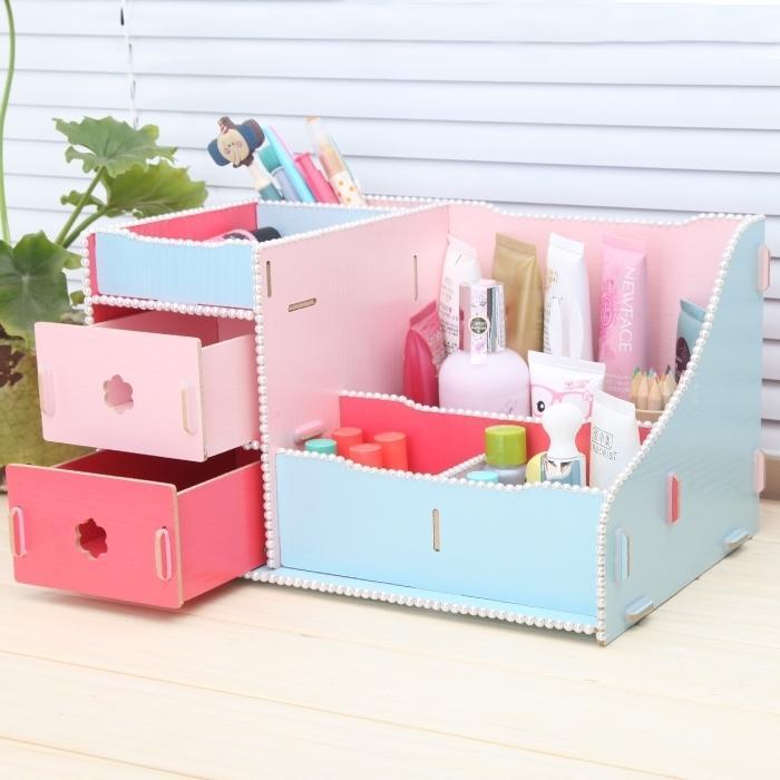Creative Diy Cute Desk Stationery Organizer Office Supplies Wooden Drawer Storage Box