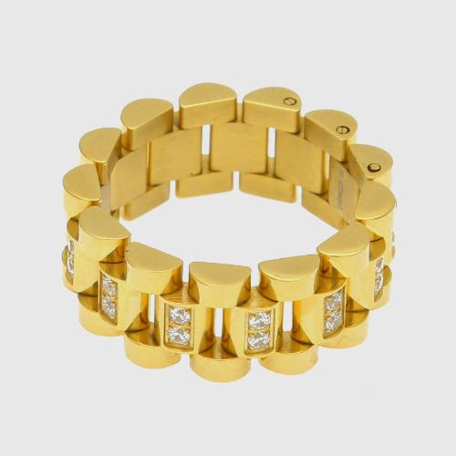 Hip Hop Gold and Silver Stainless Steel CZ Cubic Zirconia Chain Band Ring Hollowed Finger Ring Rapper Lovers Jewelry Gifts for Men and Women