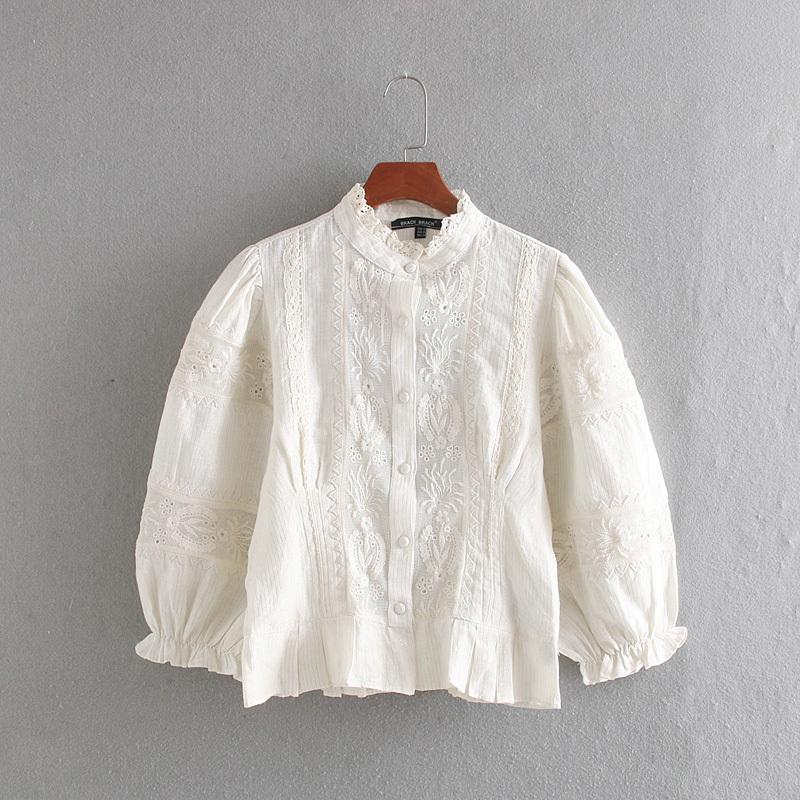 Стильная Женская Блузка Вышивка Рубашка Осень 2019 Новая Мода Выдалбливают Кружева Пэчворк Полосатый Современная Леди Короткие Топы Y200422