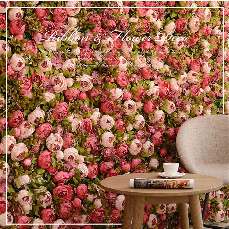 40 * 60 centímetros painel de parede HI-Q artificial flor Milan relvado festa de casamento DIY decoração fundo subiu hortênsia 10pcs peônia Luxo / lot CJ191213