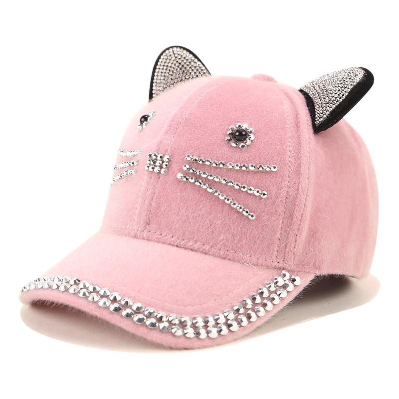 Snapback Cute Cat Ears Sequins Baseball Caps Women Fashion Lovely cat Adjustable Hip Hop Hat with Rings Gift