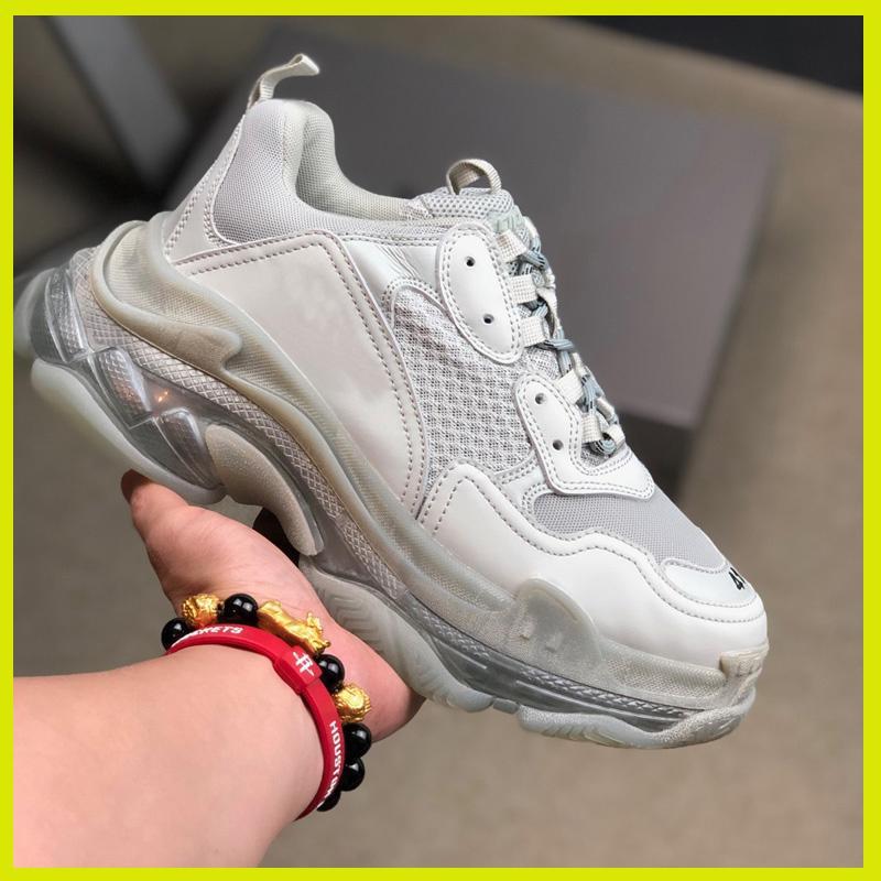 Diseñador de zapatillas de deporte de las mujeres de los hombres del papá zapatos parís Crystal Triple S 17FW de lujo baratos vendimia viejo abuelo entrenador blanco negro rojo azul